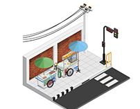 Thai street food cart vector illustrator style