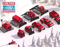 Cartoon Low Poly Winter Vehicles 3d Asset
