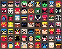 8x8, 100 superhero faces, pico8 color palette