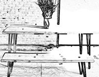 Création table salon Et banc chêne et métal