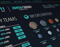 Web game dashboard UI
