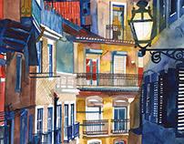 watercolor sepia&indigo