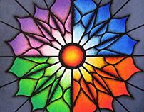 Titre de l'œuvre d'art : Fleur colorée.