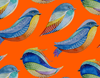 Birds and flowers patterns made with watercolor