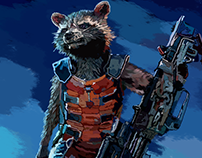 Photoshop Drawing Rocket Raccoon