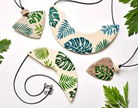Monstera & palm jewelry