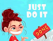 Motivation banner in cartoon. JUST DO IT