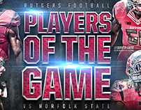 "Rutger Football ""Players of the Game"" vs NSU"