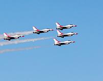 """USAF Thunderbirds over Las Vegas as a """"thank you""""."""