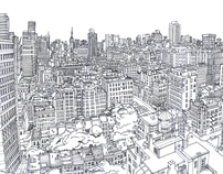 Line drawing of Upper East Side, Manhattan.