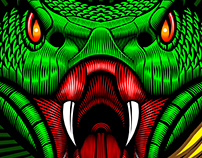 """Mat Beast """"Green Viper"""" Rash Guard Illustration"""
