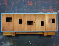 MILK-PAINTED MORTISE CREDENZA