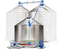 Grain silo, technical illustration.
