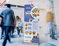 Restaurant Roll Up Banner Stand PSD
