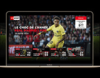 SFR Sport - UI design for web, mobile and TV experience