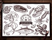 Hand-drawn seafood