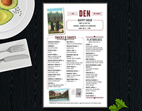 The Den on Sunset menus and promotional materials