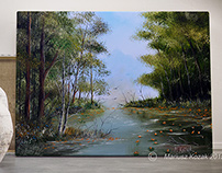 Dawn oil painting on canvas