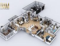 4-bedroom Simple Modern Residential 3D Floor Plan House