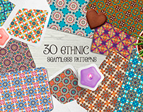 30 vintage ethnic tribal seamless patterns.