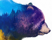 Double Exposure animals (illustration set)