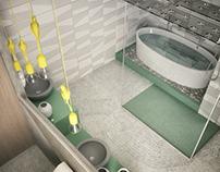 Open space. Bathroom with wardrobe