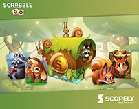 Forest Friends live ops art for Scrabble® GO game
