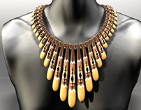 3d modeled fashion jewelry wooden neckless