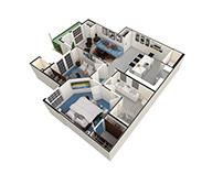 Apartment Unit 3DFloorplan.