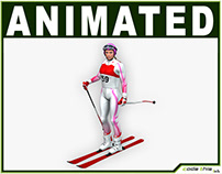 3D Model: Female Skier Low Poly