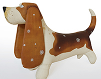 3d model basset dog fabric toy
