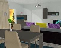 Living & Dining Room / 3D
