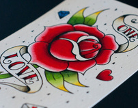 ONE LOVE WATERCOLOR TATTOO FLASH