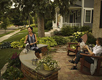 Front-yard patios spark socializing on this block