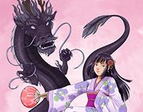 Ilustrações de personagens e suas criaturas