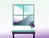 Desk in front of Window Illustration