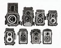Vintage camera hand-drawing sketches.
