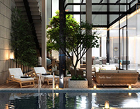 Basement garden and pool design in Kuwait City