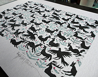 winter solstice ritual, collection of original linocuts