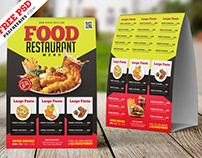 Free PSD : Restaurant Tent Card Design PSD