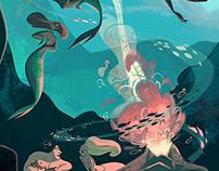 Firecamp under the ocean