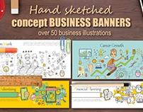 Hand sketched concept BUSINESS banners