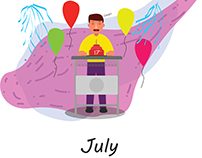 Illustration of birthday calendar