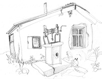 sketch of an old hut