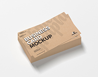 Free Stack of Kraft Business Cards Mockup PSD