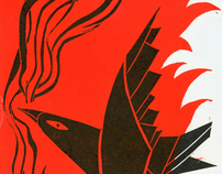 """Bad fairytales"" serie of linocuts (2011)"