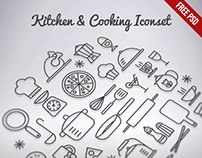 Kitchen & Cooking Outline Iconset Free PSD