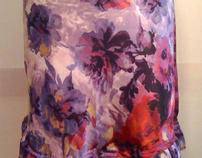 Satin Flower Bias Skirt