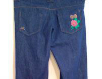 Gold Border Flower Denim Jeans