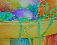 Watercolor Easter Basket by April Galamin